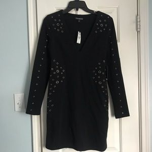 NWT Express Grommeted Black Dress
